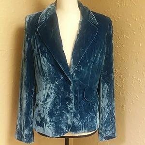ALFANI ocean blue velvet like jacket size 4